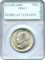 1936 CLEVELAND 50C PCGS MINT STATE 63 OGH RATTLER HOLDER - SILVER CLASSIC COMMEMORATIVE