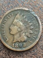 1892 INDIAN HEAD CENT PENNY / CIRCULATED GRADE GOOD /  GOOD 95 COPPER COIN
