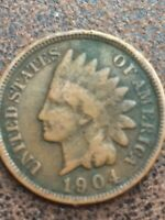 1904 INDIAN HEAD CENT IN AVERAGE CIRCULATED CONDITION