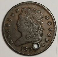 1828 HALF CENT.  HOLED X.F. DETAIL.  117601