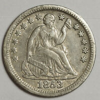 1853 LIBERTY SEATED HALF DIME.  NO ARROWS.  X.F.  118804