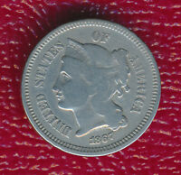1867 THREE CENT NICKEL WELL TONED TYPE COIN SHIPS FREE