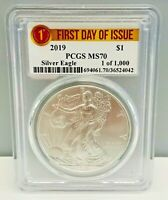 2019 1OZ SILVER EAGLE PCGS MS70 - FIRST DAY ISSUE - 1 OF 1000
