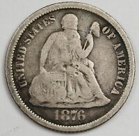 1876-S SEATED LIBERTY DIME.  V.G.  114396
