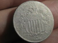 1876 SHIELD NICKEL 5 CENT PIECE-