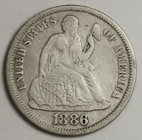 1886-S SEATED LIBERTY DIME.  STRONG LIBERTY.  ABOUT V.F.   131964