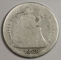 1888-S SEATED LIBERTY DIME.  CIRCULATED.  119506