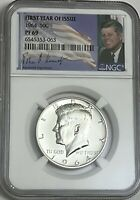 1964 NGC PF69 SILVER PROOF KENNEDY HALF DOLLAR BRIGHT WHITE COIN 50C 90
