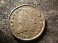 1832  EXTRA FINE  SOLID CLASSIC HEAD HALF CENT  LOW MINTAGE  DATE REP