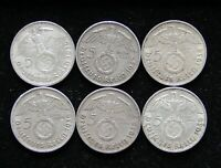 6 COIN 5 REICHSMARK SILVER SET 2X 1937 A 38 A 39 A CIRCULATE