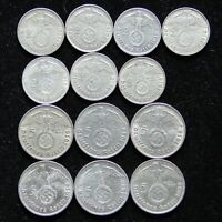 13 COIN 1938 NAZI 2 & 5 REICHSMARK SILVER SET ALL MINT MARKS