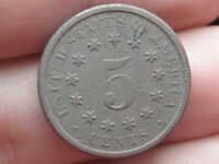 1870 SHIELD NICKEL 5 CENT PIECE- FULL DATE- VG/FINE DETAILS