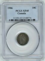 CANADA 1906 SILVER 10 CENTS PCGS XF45