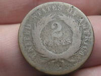1864-1872 TWO 2 CENT PIECE- CIVIL WAR TYPE COIN- LOWBALL, HEAVILY WORN