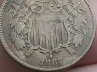 1867 TWO 2 CENT PIECE- CIVIL WAR COIN, FINE/VF DETAILS, FULL DATE, FULL RIMS