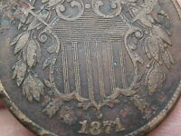 1871 TWO 2 CENT PIECE-  DATE- FINE/VF SHIELD DETAILS