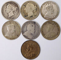 CANADA SILVER 10 CENTS LOT   7 COINS