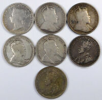 CANADA SILVER 25 CENTS COIN LOT   7 COINS