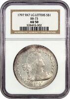 1797 $1 NGC AU50 9X7 STARS, LARGE LETTERS, BB-73 BUST SILVER DOLLAR