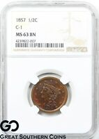 1857 NGC HALF CENT, BRAIDED HAIR, C-1, MINT STATE 63 BN  TOUGH THIS , FREE S/H