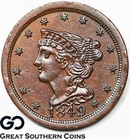 1849 HALF CENT, BRAIDED HAIR, BETTER DATE EARLY COPPER TYPE