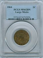 1864 SHIELD TWO CENTS LARGE MOTTO PCGS MINT STATE 62 BN