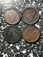 LOT OF 4 U.S. LARGE CENTS 1837 1847 1851 1852 LOTDW22