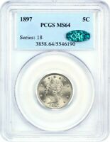 1897 5C PCGS/CAC MINT STATE 64 - LIBERTY V NICKEL