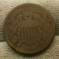 1864 TWO CENT PIECE X1359 CIVIL WAR ERA HISTORICAL ARTIFACT ANTIQUE COIN
