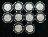 LOT OF 10 ABOUT UNCIRCULATED 1943 SILVER LIBERTY WALKING HALF DOLLARS COINS I387