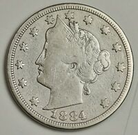 1884 LIBERTY NICKEL.  ABOUT FINE.  136838