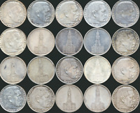 20 OLD SILVER FIVE 5 REICHSMARK COINS FROM THE THIRD REICH G