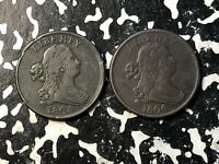 LOT OF 2 U.S. DRAPED BUST 1/2 CENTS 1804 & 1806 LOTDW108 NIC