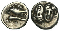 ANCIENT   MOESIA ISTROS   DRACHM   GRASPING DOLPHIN WITH TAL