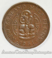 NEW ZEALAND 1/2 PENNY 1951 AU BRONZE KING GEORGE VI LUSTROUS