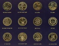 A TRIBUTE TO AMERICA'S MOST BEAUTIFUL GOLD COINS SET OF 12