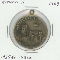 APOLLO XI MOON MISSION MEDAL STERLING SILVER AMERICAN MINT ASSOC.