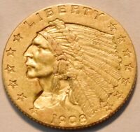1908 $2.50 GOLD INDIAN QUARTER EAGLE HIGH GRADE 2 AND 1/2 BE
