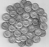 FULL  ROLL OF 50 SILVER MERCURY DIMES  G TO AU   3.99 SHIP