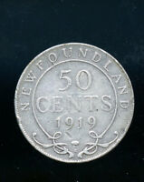 1919 NEWFOUNDLAND STERLING SILVER 50 CENTS AB203