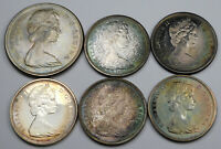 1967 TONED SILVER CANADIAN LOT   6 COINS