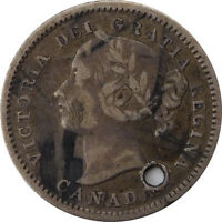 1875H CANADA 10 CENTS   HOLED