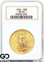 1924 DOUBLE EAGLE $20 GOLD ST GAUDENS NGC MS 63    NICE COLL