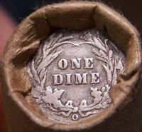 O DIME TAIL/1889 INDIAN HEAD ENDS MIXED ANTIQUE ROLL AS SHOW