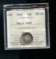 1947 ML MAPLE LEAF CANADA 10 CENTS ICCS CERTIFIED MS64 A646