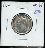 1937 CANADA 25 CENTS MS63 OR BETTER  A650