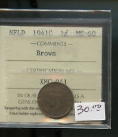 1941 NEWFOUNDLAND SMALL CENT ICCS CERTIFIED MS60 BROWN A687