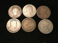 T2: CANADA SILVER LOT OF 25 CENT COINS. 1874H 1905 1910 1912