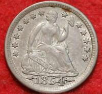 1854 PHILADELPHIA MINT SILVER SEATED LIBERTY HALF DIME WITH