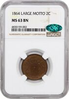 1864 2C NGC/CAC MINT STATE 63 BN LARGE MOTTO 2-CENT PIECE
